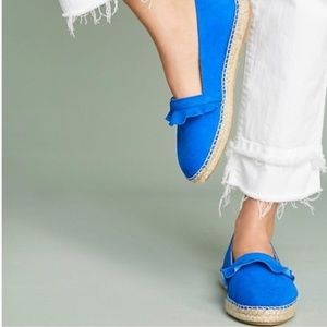 Anthropologie Ruffle Espadrilles Loafers Flat Blue